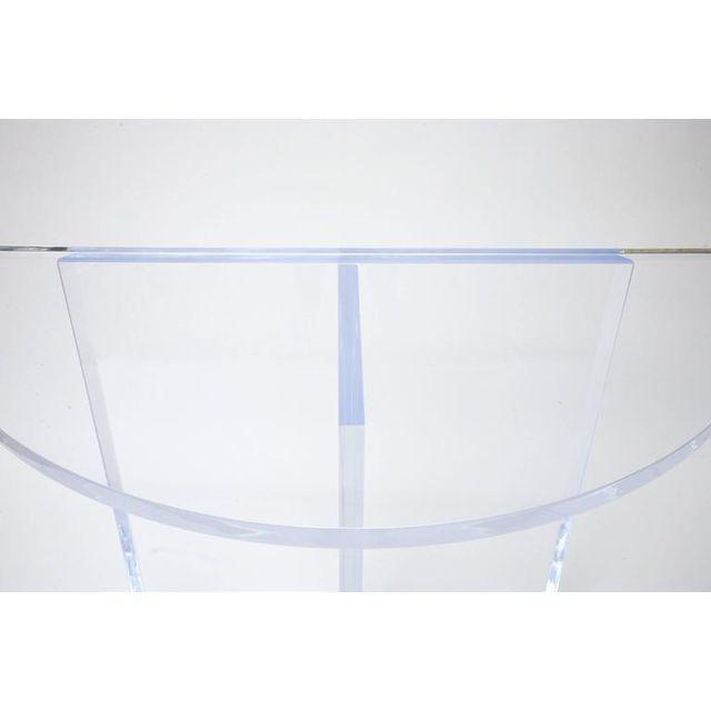 Contemporary Custom Designed Charles Hollis Jones Style Demilune Clear Lucite Console - Showroom Sample For Sale - Image 3 of 12