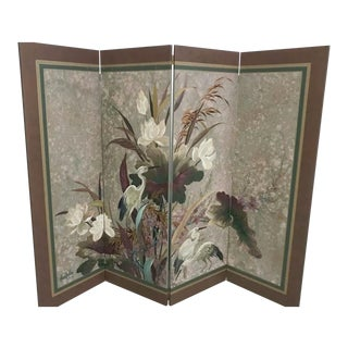 Vintage Hand Painted Asian Screen, Signed Lucien Leinfelder For Sale