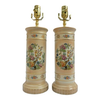 1960s Cream Floral Ceramic Table Lamp With Gold Leaf - a Pair For Sale
