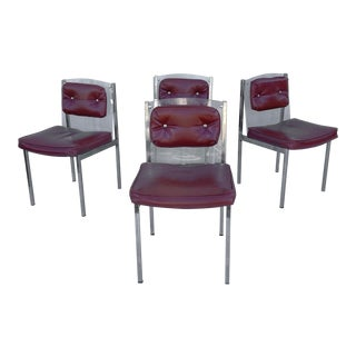 Vintage Modern Acrylic & Vinyl Dining Chairs - Set of 4 For Sale
