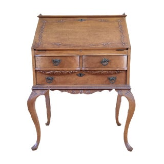 R. J. Horner Ladies Birdseye Maple Antique Secretary Writing Desk, Drop Front, Slant Lid For Sale