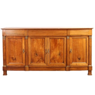 19th Century Antique French Walnut Empire Sideboard For Sale
