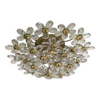 Crystal & Gold Leaf Floral Flush Mount Light Fixture For Sale