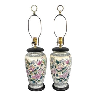 Asian Botanical Vase Lamps - a Pair For Sale