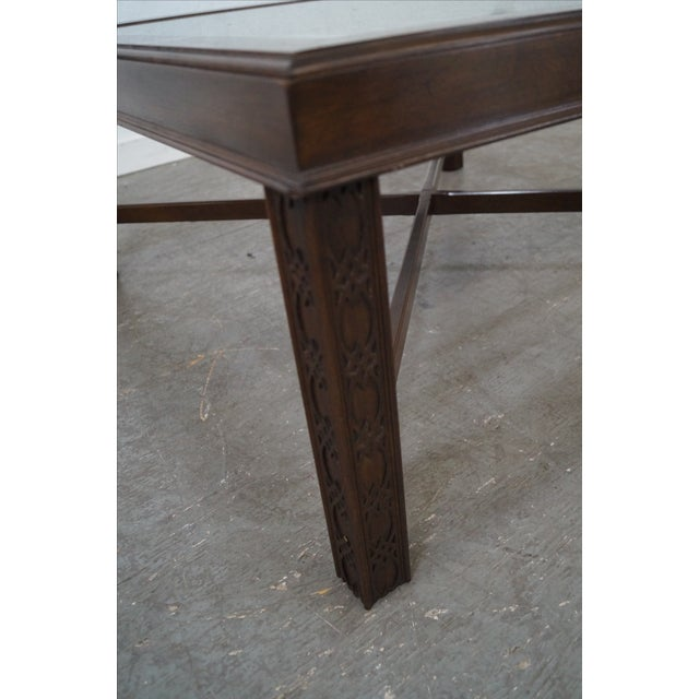 Chippendale Style Cherry Glass Top Coffee Table - Image 4 of 10