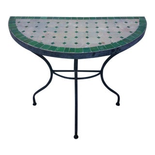 Moroccan Natural With Green Trim Mosaic Demilune Table For Sale