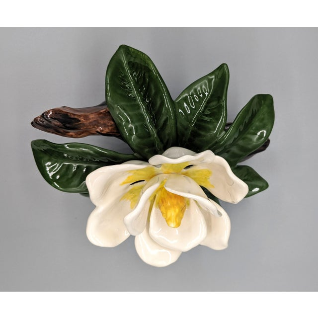 Ceramic Late 20th Century Vintage Ceramic Magnolia Flower Figurine For Sale - Image 7 of 8