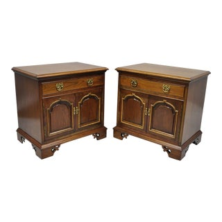 Thomasville Chippendale Style Cherry Wood Nightstands Bedside Table Cabinet - a Pair
