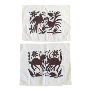 Embroidered Mexican Otomi Pillow Cases - A Pair For Sale