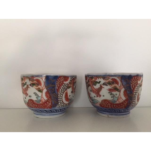 Imari Porcelain Antique Japanese Imari Porcelain Colored Tea Cups - a Pair For Sale - Image 4 of 7