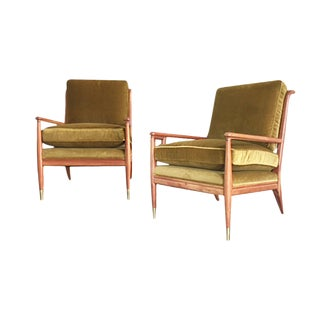 Midcentury Maple & Brushed Velvet Lounge Chairs by John Stuart for Widdicomb - a Pair