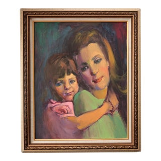 Mother and Child Portrait Painting For Sale