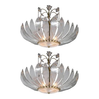 1930's French Glass Leaves Light Fixture For Sale