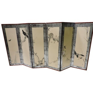 Pair of Hand Painted Japanese Panel Screens With Birds and Flowers For Sale