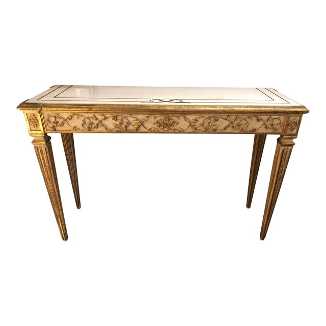 Antique Gilded Painted Italian Regency Console Table With Marble Top For Sale