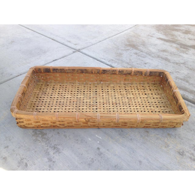 Wood 20th Century Country Woven Tray Basket For Sale - Image 7 of 7
