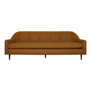 Mid-Century Modern Sofa Reupholstered in Orange Wool For Sale