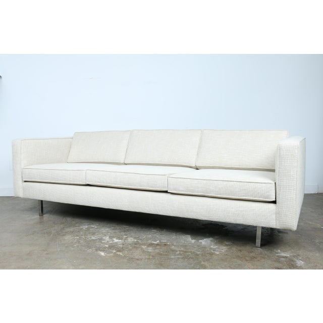 Mid-Century Modern White Mid-Century Sofa With Chrome Legs For Sale - Image 3 of 11