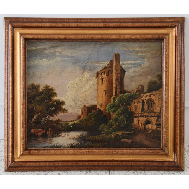 Circa 1830s Antique English Castle & Cattle at River Painting For Sale - Image 10 of 11