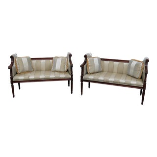 Vintage Mid Century Louis XVI Style Loveseat- A Pair For Sale