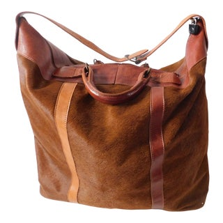 Fabulous Vintage Italian Pony Skin and Leather Weekend Carryall For Sale