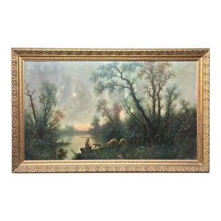 Antique Framed Large Italian Landscape Oil Painting on Canvas