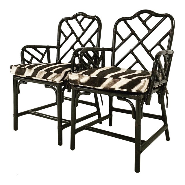 Chinese Chippendale Black Painted Side Chairs - One Available - Image 1 of 3