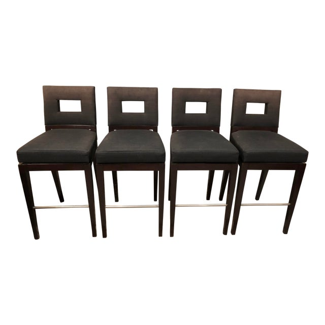Contemporary Designer Swivel Barstools by A. Rudin - Set of 4 Midnight Onyx Stain Guard Upholstery For Sale