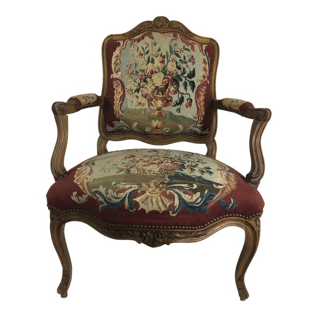 Louis XV Style Arm Chair With Aubusson Tapestry For Sale