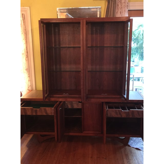 1960s Mid-Century Modern Walnut Credenza Hutch For Sale - Image 9 of 13
