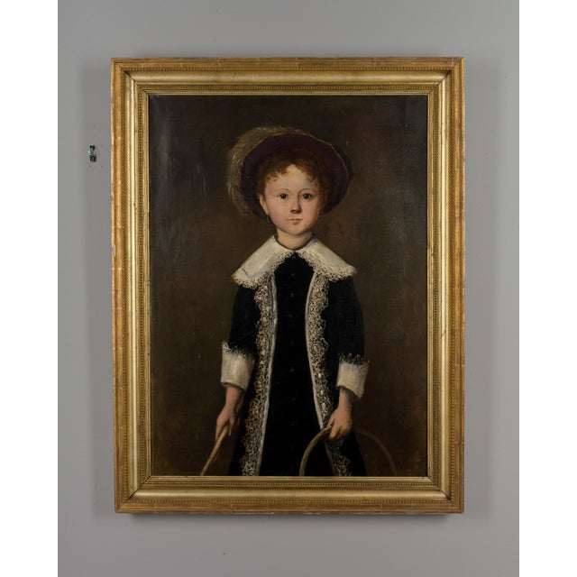 Green 19th Century French Portrait of a Young Girl Oil Painting For Sale - Image 8 of 8