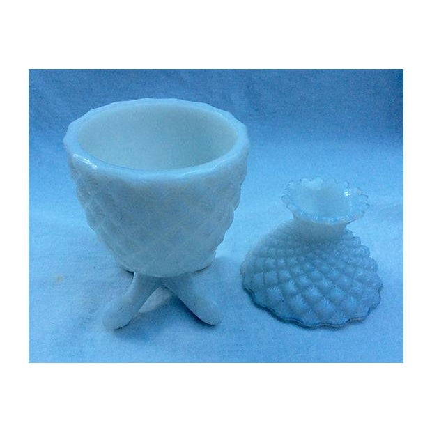 French 1940's Milk Glass Pineapple Candy Bowl - Image 3 of 5