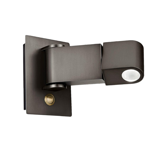 Led Reading Light Black Bronze With English Brass For Sale