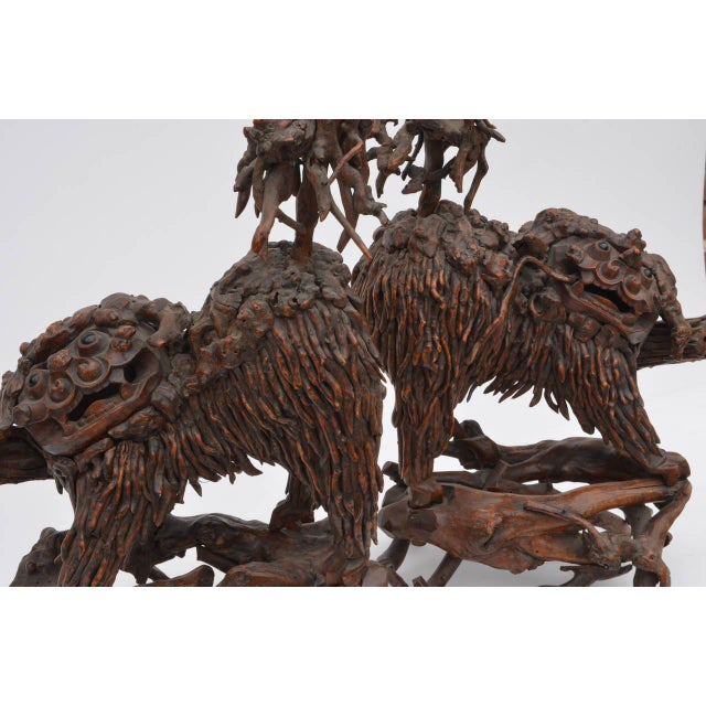 Mid 18th Century Chinese Carved Wood Foo Dogs - a Pair For Sale - Image 4 of 6