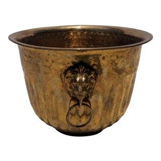 Hollywood Regency Hammered Brass Cachepot With Lion Ring Pulls For Sale