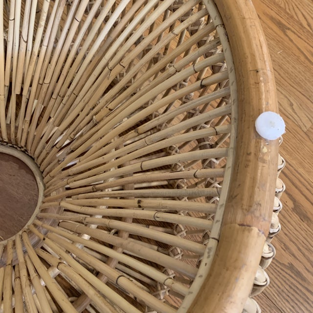 Franco Alibini Style Round Rattan Ottoman Side Table For Sale - Image 9 of 12
