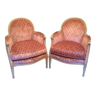 Early 20th Century French Louis XVI Style Painted Bergère Chairs - a Pair For Sale