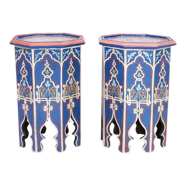 Antique Moorish Painted Stands - a Pair For Sale