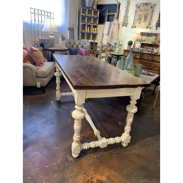 Chalk 1910s French Farm Table For Sale - Image 7 of 13
