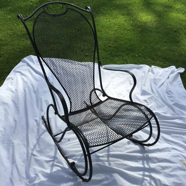 Russell Woodard Wrought Iron Rocking Chair For Sale - Image 10 of 11