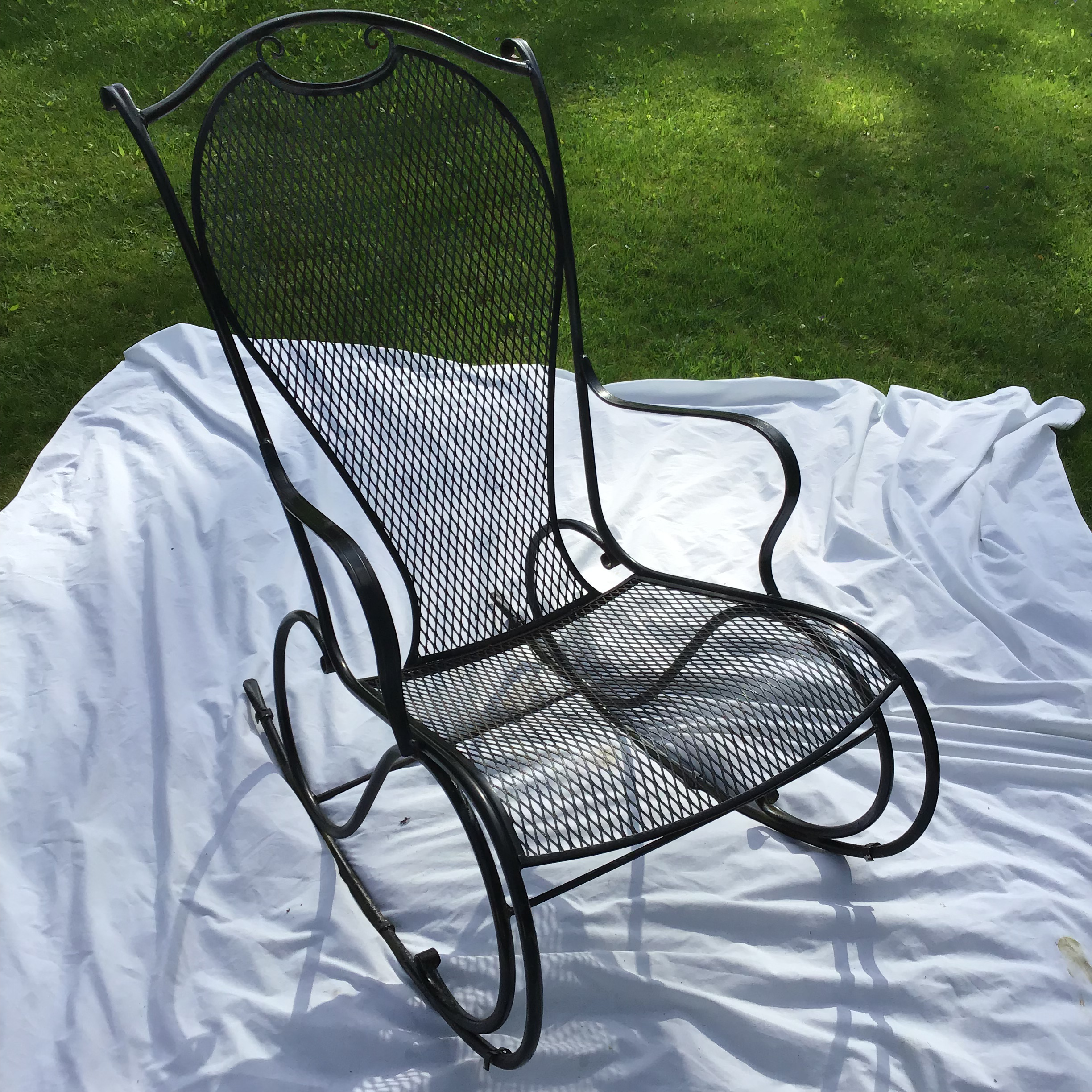 Russell Woodard Wrought Iron Rocking Chair For Sale   Image 10 Of 11