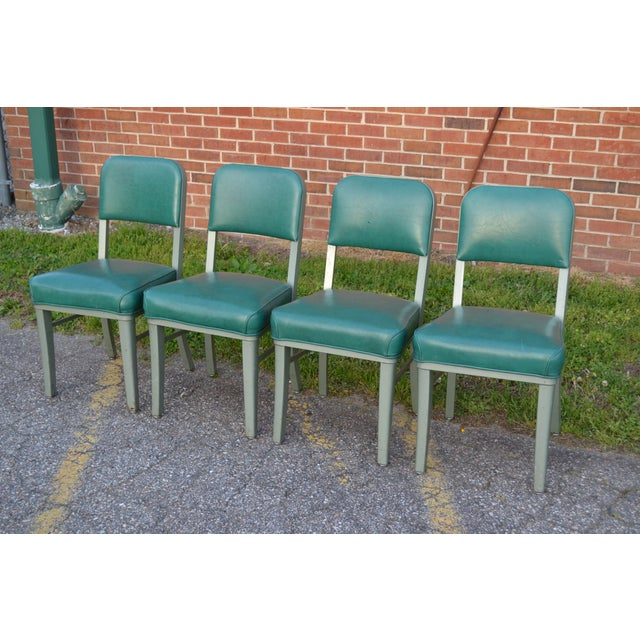 Great set of four classic Mid Century Modern Steelcase office chairs. Green naugahyde upholstery. Excellent vintage...