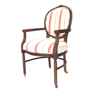 Vintage Luis XVI French Accent Chair on Casters For Sale