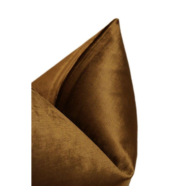 """22"""" Cognac Luxe Velvet Pillows - a Pair For Sale - Image 4 of 5"""