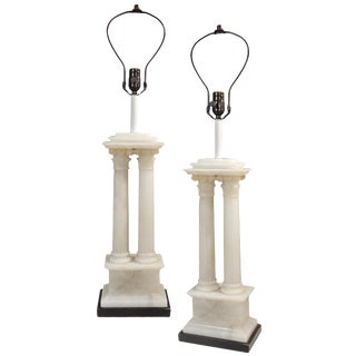 Beautiful Pair Of Marble Column Table Lamps For Sale