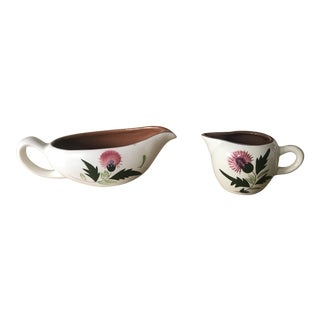 Stangl Pottery Thistle Gravy Boat & Creamer For Sale