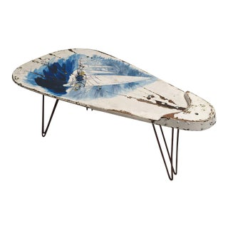 Unique Dutch Historical Sailing Boat Oak 'keel' Coffee Table With Artwork Top