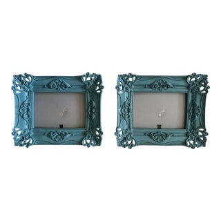 Traditional Teal Lacquered Picture Frames - a Pair For Sale