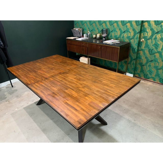 Mid-Century Modern Walnut Dining Table For Sale In Los Angeles - Image 6 of 8