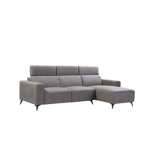 Pasargad Home Modern Bari Sectional Sofa With Push Back Functional, Grey-Right Facing For Sale